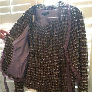 Karen Kane purple chiffon plaid blazer and skirt